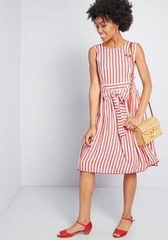 This red-and-white striped dress is exhilarating to flaunt! And, your fascination with its cherry chest embroidery, sweet sash, and wavy trim along the. Fall Fashion Outfits, Casual Fall Outfits, Casual Dresses, Casual Clothes, Girl Fashion, Summer Outfits, Red Midi Dress, Striped Dress, Day To Night Outfits