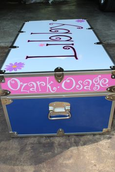 Libby's camp trunk decorated - check!  Thank you Katie Fuerst!