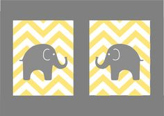 Modern Nursery Set  Yellow and Gray or PInk and Gray by karimachal, $28.00
