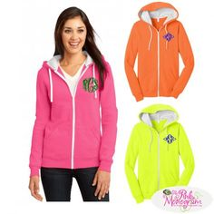 You'll put on a show that turns heads in this bright monogrammed hoodie Neon Colors like pink orange and yellow are our favorites but we also have