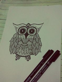 doodle owl.. with floral pattern