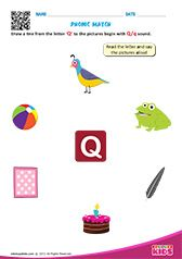 Phonic Match Q Preschool Phonics, Learning Phonics, Toddler Learning Activities, Teaching Kindergarten, Preschool Worksheets, Letter S Worksheets, Nursery Worksheets, Alphabet Worksheets, Alphabet Activities