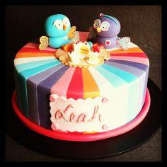 Hootabelle and Hoot picnic rainbow stripe isn't birthday cake. Handmade fondant decorations - Cakes by Lou