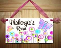 door sign pretty pink garden flowers girls bedroom and baby nursery rh pinterest com Changing Room Sign Room Number Signs