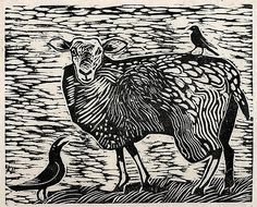 ✦ 'crow sheep and bird' - andrew waddington - woodcut print Linocut Prints, Art Prints, Block Prints, Graphic Design Illustration, Illustration Art, Yarn Painting, Sheep Art, Raven Art, Organic Art