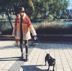 Autumnal fuzzy statement coat--perfect for an otherwise all-black ensemble.