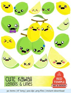 Kawaii Cute Lemon and Lime Clipart  Printable by RedTempleArt