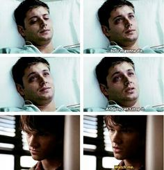 I was so impressed with the make up in this episode. This is one of the few times that Dean actually LOOKED ill (as opposed to sexy-while-covered-in-blood.) #spn