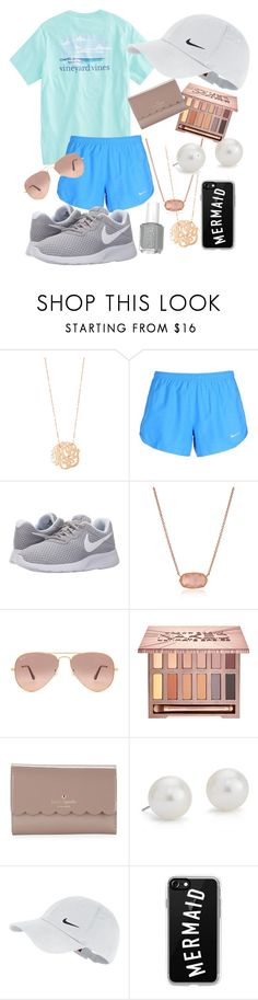 """Vineyard vines & rose gold"" by averytheleapinglizard ❤ liked on Polyvore featuring Ginette NY, NIKE, Kendra Scott, Ray-Ban, Urban Decay, Kate Spade, Blue Nile and Casetify"