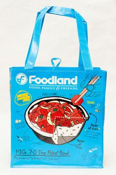 Foodland Poke Reusable Grocery Bag Mai Tai, Reusable Grocery Bags, Printed Materials, Grocery Store, Packaging Design, Hawaii 2017, Maui, Hawaiian, English