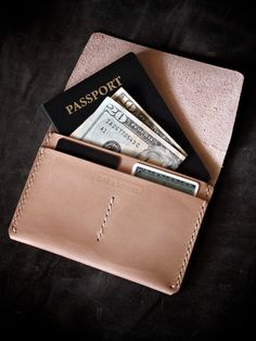"'Keryn"" handmade vegetable tanned leather passport wallet by Bas and Lokes-SR"