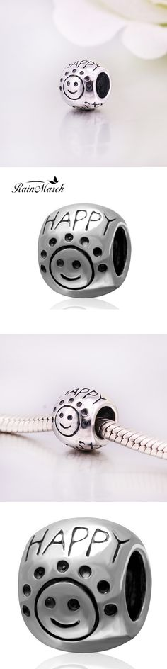 Fit Pandora bracelets Happy Smile Face Beads Original 100% 925 sterling silver charms DIY Jewelry