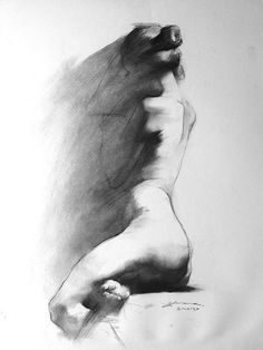 """Zhaoming Wu In the Shawdow Charcoal on paper? 18"""" x 24"""" 'Wu focuses on figurative work, using live models, mainly women draped in cloth, although his repertoire includes landscapes and portraits. The..."""