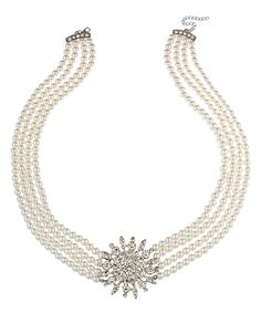 Loving this White Faux Pearl Flower Necklace on #zulily! #zulilyfinds