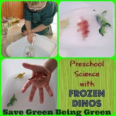 Preschool Science Experiment with Frozen Dinosaurs