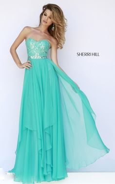 2015 Sherri Hill 1943 Sweetheart Prom Dress Teal
