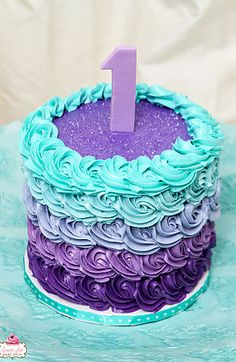 Purple Teal Ombre Cake
