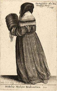 University of Toronto Hollar Collections, plate Number: P1830. Nobilis Mulier Brabantica. State 1. 1648? Note the back gathering on her hood