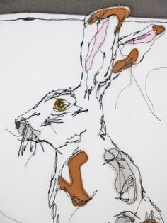 Hare Portrait ''Country Hare'' OOAK Embroidered Canvas Textile Art Grey Mustard Brown