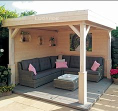 garten lounge Gartenlauben Gazebos A garden gazebo becomes an outdoor lounge and still protects against rain. But you need certain dimensions and have limited space. Backyard Gazebo, Backyard Patio Designs, Pergola Designs, Pergola Patio, Pergola Plans, Backyard Landscaping, Grill Gazebo, Pergola Kits, Wooden Gazebo Plans