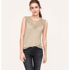 LOFT Lace Inset Tee featuring polyvore, women's fashion, clothing, tops, t-shirts, sparkling wine, wine t shirts, sleeveless white t shirts, white t shirt, sleeveless t shirt and cap sleeve tee