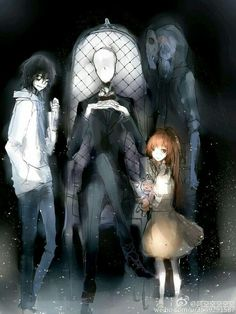 Creepypasta- Jeff the Killer, Slendy, Sally & Eyeless Jack Jeff The Killer, Familia Creepy Pasta, Creepy Pasta Family, Creepypasta Slenderman, Eyeless Jack, Laughing Jack, Creepy Art, Scary Stories, The Villain