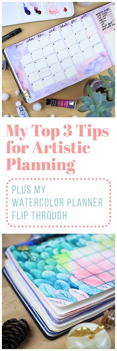 After five months of using my watercolor planner, I finally finished the whole journal! Check out my watercolor planner flip through and see the top three tips for artistic planning that I learned along the way. Art Journal Pages, Journal Layout, Journal Prompts, Journal Ideas, Art Journals, Journal Themes, How To Bullet Journal, March Bullet Journal, Bullet Journal Spread