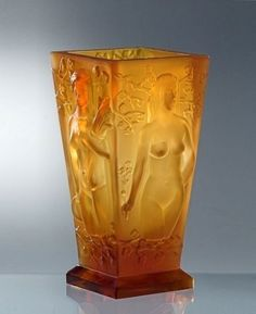Lot: Bohemian Art Deco Amber Glass Large Vase, Lot Number: 0032, Starting Bid: $360, Auctioneer: Bohemian Art Deco & Art Nouveau Glass, Auction: Art Deco Glass, Date: May 29th, 2017 CEST