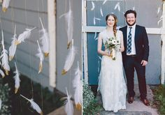 feather ceremony backdrop   photos by Luke Liable Photography   100 Layer Cake