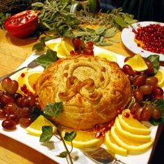 Chutney-stuffed Brie in Puff Pastry, holiday style