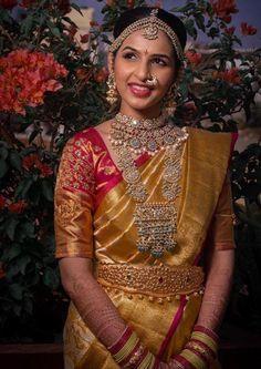 Love this Yellow Red Bridal Saree. Bridal Sarees South Indian, Indian Bridal Outfits, Wedding Silk Saree, Indian Bridal Fashion, South Indian Bride, Indian Sarees, Pattu Sarees Wedding, Wedding Saree Blouse Designs, Pattu Saree Blouse Designs