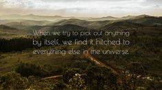 """John Muir Quote: """"When we try to pick out anything by itself, we find it hitched to everything else in the universe."""""""