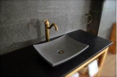 Gray Basalt Stone Bathroom Sink Concrete Look Tahiti Moon Black Marble Bathroom, Stone Bathroom Sink, Natural Stone Bathroom, Concrete Bathroom, Concrete Sink, Bathroom Vanities, Basalt Stone, Shower Pan, Sink Faucets