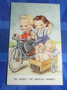 Comic Postcard 1930s Vintage Tandem Bicycle Cycling SIDECAR Theme in | eBay