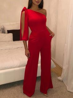 One Shoulder Slit Sleeve Wide Leg Jumpsuit dresses chicme Fashion Style chicme informs you on the latest fashion trendst Fashion Outfits, Womens Fashion, Fashion Tips, Latest Fashion, Style Fashion, Fashion Ideas, Fashion Online, Fashion Trends, Backless Jumpsuit