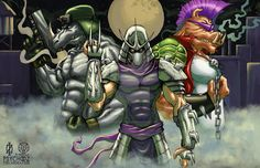Bebop and Rocksteady are two fictional characters in the 1987 Teenage Mutant Ninja Turtles cartoon series and the Archie TMNT Adventures… Ninja Turtles Cartoon, Ninja Turtles 2, Teenage Mutant Ninja Turtles, Shredder Tmnt, Bebop And Rocksteady, 90s Cartoons, Power Rangers, Animation, Fan Art