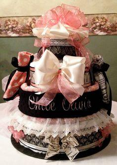 Custom Vintage Paris Theme Diaper Cake 4 Tier on Etsy, $320.00