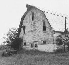Old barn and farm tractor.