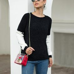 Autumn and Winter Women's Sweater Knitwear Black and White Contrast Sweater Office Lady Full Pullovers weaters Cool Sweaters, Sweaters For Women, Order Checks, Office Ladies, Winter Season, Sweater Outfits, Pullover Sweaters, Knitwear, Contrast