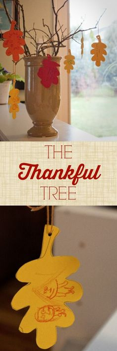 Thankful Tree: an easy DIY Thanksgiving craft project for kids. As fall home decor or a Thanksgiving table centerpiece it will become a family treasure. Do one leaf every day of November Thanksgiving Tree, Thanksgiving Crafts For Kids, Thanksgiving Decorations, Holiday Crafts, Thanksgiving Recipes, Fall Recipes, Craft Projects For Kids, Diy Crafts For Kids, Craft Ideas