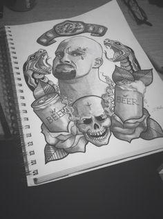 WWE Stone Cold Steve Austin illustrated by Christie O'Doherty Tattoo Themes, Tattoo Ideas, Austin Tattoo, Skull Sleeve Tattoos, Stone Cold Steve, Steve Austin, Wwe, Tatting, Art Projects