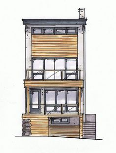 Front elevation colour rendering, by Inhabit Home Design.