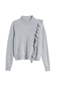 Rebecca Taylor | Gray Diagonal Ruffle Pullover | Lyst