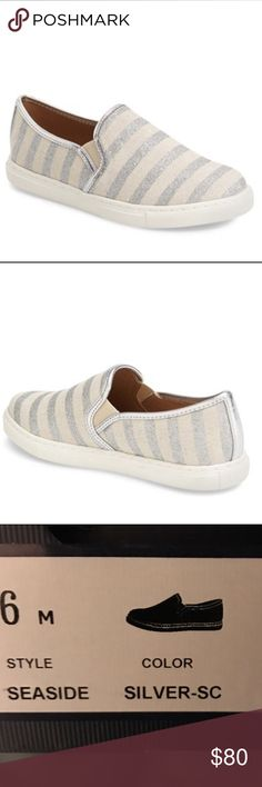 NWT Splendid Seaside Slip-on Sneaker A textual upper adds an eye-catching twist to an old-school skater shoe. Silver striped canvas. Textile or leather upper/synthetic lining/rubber sole. By Splendid; imported. Purchased at Nordstrom. Brand new. True to size. Splendid Shoes Sneakers