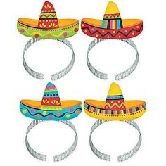 Our Sombrero Headbands features four different design of brightly colored sombreros on top of a silver headband.