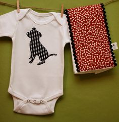 Pit Bull bodysuit and burp cloth gift set in black and white polka dot and red bone prints. $28.00, via Etsy.