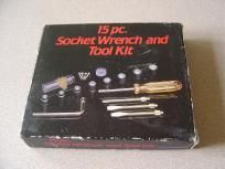Vintage 15 Piece Socket Wrench and Tool Kit Hong Kong in Box