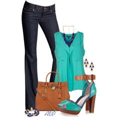 Tan, Blue, and Turquoise
