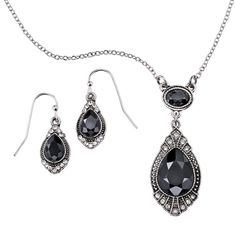 Jet Embellished Necklace and Earring Gift Set