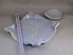 Ceramic sushi plate bowl and chopstick set or Italian tapas plate set in periwinkle purple / hostess gift